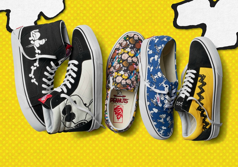 41450692dc26eb The slip-ons are busy with recognisable faces covering the outside of the  shoe while the Sk8-Hi kept the colour palette simple and opted for Snoopy s  face ...